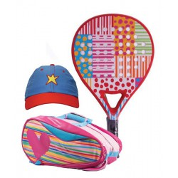 pack de padel agatha ruiz de la prada dots and stripes y paletero heart relief