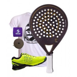 pack de padel kaitt calibre y zapatillas kaos safety