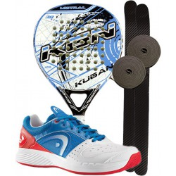 pack de padel kugan mistral y zapatillas head sprint
