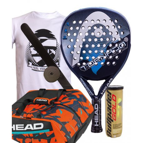 pack de padel head tornado control ltd y paletero delta bela monstercombi