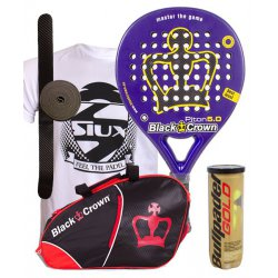pack de padel black crown piton 5.0 y paletero black crown sun
