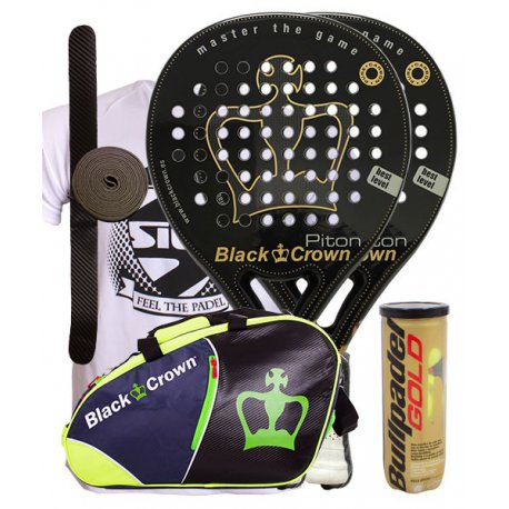 pack de padel 2 palas black crown piton y paletero black crown sun