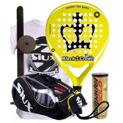 pack de padel black crown free y paletero siux mastercombi