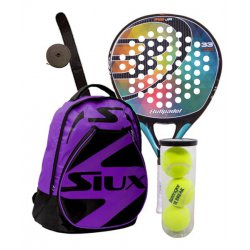 pack de padel bullpadel iris junior y mochila siux